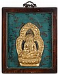 Chinese gilt metal bodhisattva within frame, , Amitayas cast seated in dhyanasana on lotus base framed by flaming mandorla, mounted aga