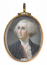 American and Continental School 19th/20th century, two miniature portraits of george washington, The first, a watercolor, signed,