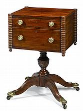 Federal mahogany two drawer workstand, attributed to joseph barry (1757-1838), philadelphia, pa, circa 1815, Rectangular top with outse