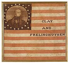 Clay and Frelinghuysen printed cotton 1844 campaign flag, circa 1844, Printed with a bust-length portrait of Clay enclosed by twenty-si
