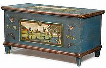 Painted blanket chest decorated with landscape, possibly ohio, inscribed and dated,