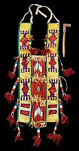 Chief Henry One Bull's quillwork breastplate and clay pipe, late 19th/early 20th century, The slats wrapped with yellow, purple, red,