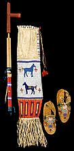 Sioux beaded and quilled pipebag, quilled pipe and beaded moccasins, pine ridge, south dakota, 1890, Beaded in lane-stitch with geometr
