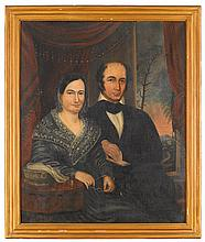 Attributed to George Cooke (1793-1849), double portrait of martha pearson cook and isaac winship, circa 1845, Oil on canvas, framed.