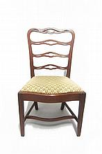 Mahogany ribbon-back side chair, delaware valley, circa 1790, Serpentine and pierced crestrail with three conforming horizontal splats,