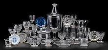 Large group of mold blown, pressed and blown glassware, 19th century, Including large covered footed urn, covered sugar, footed bowl, f