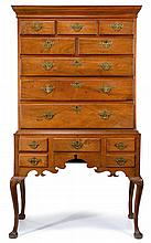 Queen Anne walnut high chest, delaware valley, 18th century, Upper section with molded cornice above arrangement of eight drawers, lowe