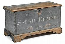Painted and decorated pine dower chest, sussex county, delaware, inscribed and dated,