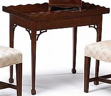 Maple tray-top tea table, 19th century, Rectangular top with serpentine gallery on conforming apron on squared tapering legs with brack
