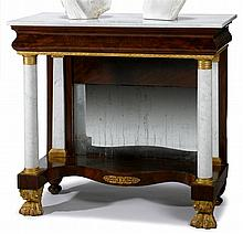 Classical ormolu mounted parcel gilt mahogany pier table, circa 1825, Rectangular white marble top with ormolu mounted frieze supported