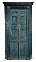 Blue-painted paneled corner cupboard, pennsylvania or new jersey, circa 1800, One piece cupboard with projecting molded cornice above f