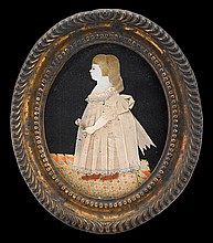 Attributed to Mary Way (1769-1833), dressed miniature of a little girl standing on a patterned rug, circa 1800, Watercolor and fabric o