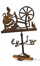 Wrought iron silhouette weathervane of a