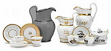 Group of Tucker porcelain tablewares, tucker & hemphill porcelain manufactory, philadelphia, pa, 1825-1838, Including two pitchers, the