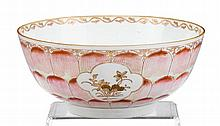 Chinese Export porcelain Famille Rose lotus punch bowl, circa 1760, The exterior painted with three tiers of overlapping, pink-shaded l