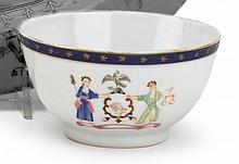 Chinese Export porcelain teabowl with the pseudo arms for the State of New York, circa 1790, With wavy blue band along upper rim, the o
