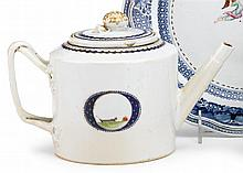 Rare drum-form teapot with the state seal of New Hampshire, circa 1800-1810, One side enameled with blue-bordered circular cartouche en