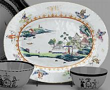 Chinese Export porcelain Famille Rose oval platter from the DeWitt Clinton Service, circa 1796-1810, The central reserve painted with f