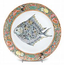 A rare Ulysses S. Grant (President, 1869-1877) Family Chinese Export porcelain Rose Medallion plate with fish, circa 1879,