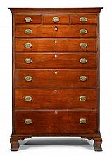 Federal walnut tall chest of drawers, delaware valley, late 18th century, Molded cornice above three short drawers and six graduated lo