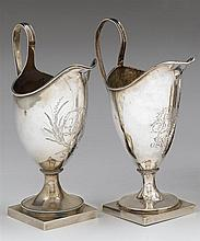 Two Philadelphia Federal silver creamers, joseph richardson, jr. (1752-1831) and samuel pancoast (1762-1829), late 18th, century Both o
