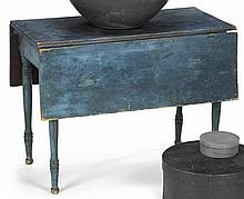 Late Federal blue painted drop-leaf table, circa 1815, Rectangular top with conforming leaves on turned legs ending in shaped feet.