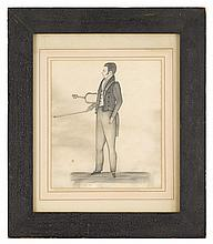 J.M. Crowley (circa 1830-35), the violinist, Pencil on paper, framed, pencil inscription to bottom left and to verso: