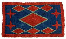 Hooked rug, late 19th/early 20th century, Diamonds and four-pointed stars worked in strips of blue, red and green wool on a burlap grou