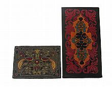 Two hooked rugs, late 19th/20th century, The first with foliate scrolls enclosing floral medallion, worked in red, blue, purple, orange