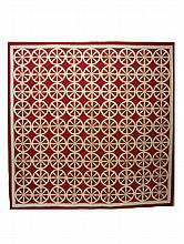 Pieced red and white cotton