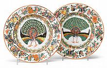 Unusual pair of Chinese Export porcelain Rose Canton plates with peacocks, each signed,