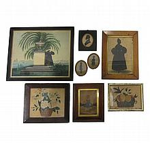 English and American School 19th century, group of silhouettes, miniature portrait, two still lifes, and a mourning picture, Including