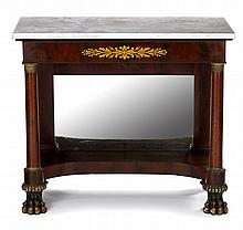 Classical marble top and stencil-decorated pier table, philadelphia, pa, circa 1825, Rectangular white marble top on conforming frieze