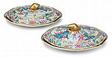 Pair of Chinese Export porcelain Rose Mandarin covered vegetable dishes, 19th century,