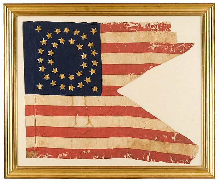 Civil War 35-Star Guidon: 119th Regiment Pennsylvania Volunteer Infantry, circa 1862, The hand-sewn silk swallowtail flag comprised of