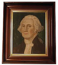 American School 19th century, portrait of george washington, Pastel on paper, framed.