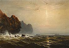 JAMES HAMILTON, (AMERICAN 1819-1878), STEAMER OFF A ROCKY COAST