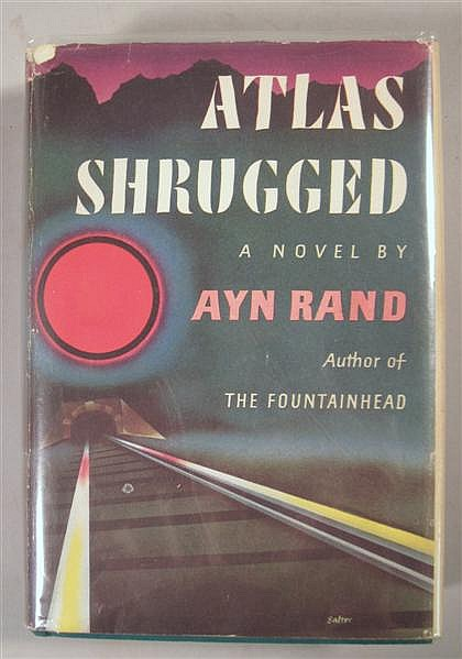 1 vol. Rand, Ayn.Atlas Shrugged. New York: Random House, 1957. 1st ed., 1st issue. Thick 8vo, orig. gilt-lettered green c...