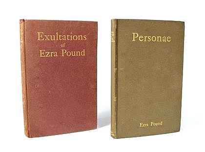 * 2 vols.  Pound, Ezra: Personae. London: Elkin, Mathews, 1909. 1st ed. Sm. 8vo, orig. light brown, gilt-lettered bds, ed...