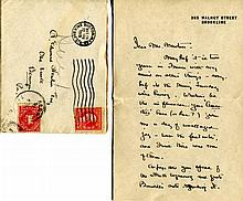 1 piece. Cushing, [Dr.] Harvey [Williams]. Autograph Letter Signed. Brookline, [MA], Mar 22, 1919. 2 1/2 pp, sm 8vo; horiz...