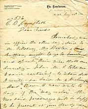 1 piece. Anthony, Susan B. Autographed Letter Signed. New York, Aug 28, 1868. 2pp, 4to; light to moderate creasing along o...