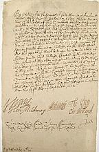 1 piece. Vane, Henry, [Governor]; et al. Manuscript Document Signed. MA, Sept 9, 1652. 1p, folio; minor wear, slightly ton...