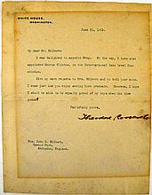 2 pieces. Thoedore & Edith Roosevelt - Autograph Material: Roosevelt, Theodore. Typed letter sgd. Washington, June 21, 190...