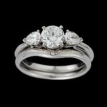 A diamond and platinum ring and band, Tiffany & Co.,