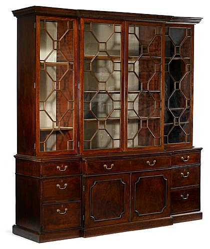 George III mahogany breakfront bookcase, 18th century, In six parts, with three glazed cupboard sections over three conforming lower se