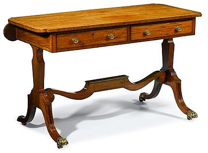 Regency ebony strung mahogany sofa table, early 19th century, The shaped rectangular top with drop down side, above two drawers, raised