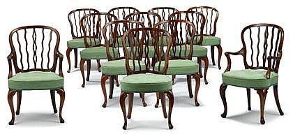 Fine set of twelve George III mahogany dining chairs, circa 1800, in the manner of george seddon, Comprising two armchairs and ten side