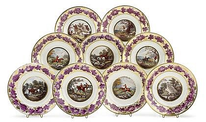 Fine English Derby porcelain 'Hunting Scenes' part dinner service, circa 1815, the painting in the manner of william cotton, Comprisi