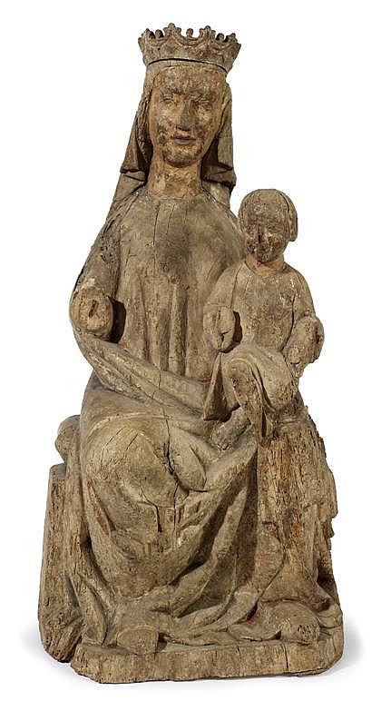 French carved oak figure of the Virgin and Child, probably 14th/15th century, Carved to show the crowned and enthroned Virgin, with Chr