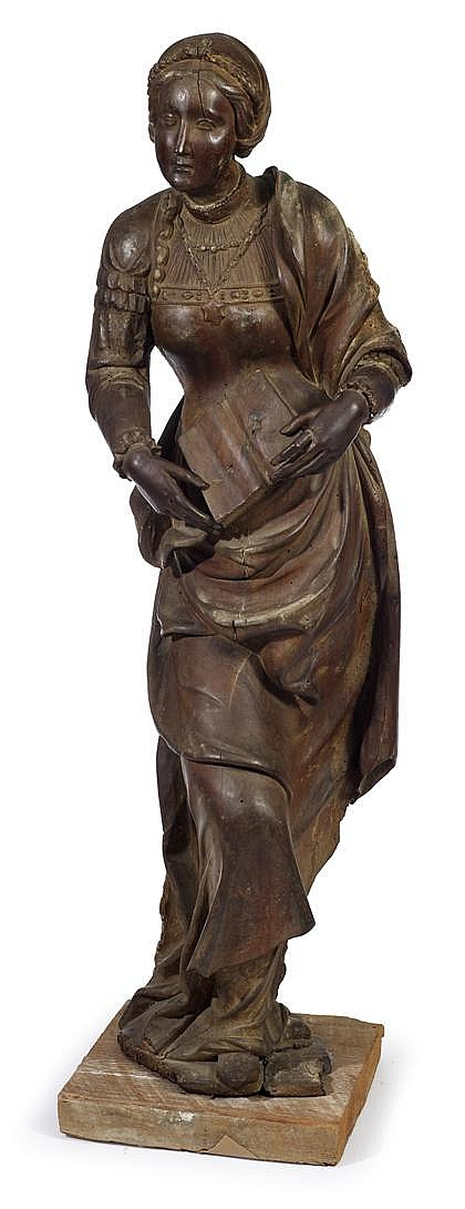 Fine South German carved linden wood figure of St. Catherine with Missal, mid 16th century, Depicted standing in flowing drapery, holdi